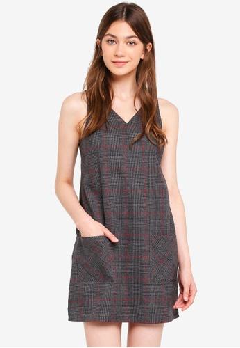 Something Borrowed black Check Sleeveless Shift Dress 1561EAAB9DFC76GS_1