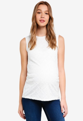 Dorothy Perkins white Maternity Ivory Sports Rib Lace Top 97284AAF075935GS_1