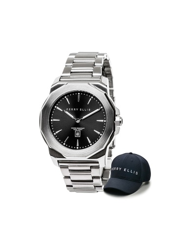 Perry Ellis silver Perry Ellis Decagon Unisex 42mm Quartz Stainless Steel Watch 08001-02 with Perry Ellis Cap E14F6AC9A7DF76GS_1