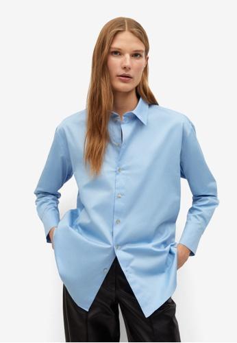 Mango 藍色 Buttoned Cotton Shirt 45889AA2A913C1GS_1