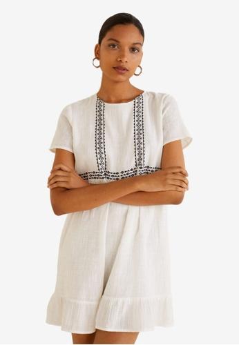 Mango white Embroidered Cotton Dress 76155AA6F90483GS_1
