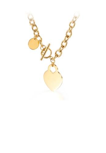 Glamorousky 銀色 簡約時尚鍍金色心形316L鋼項鏈 6C479AC22E2245GS_1