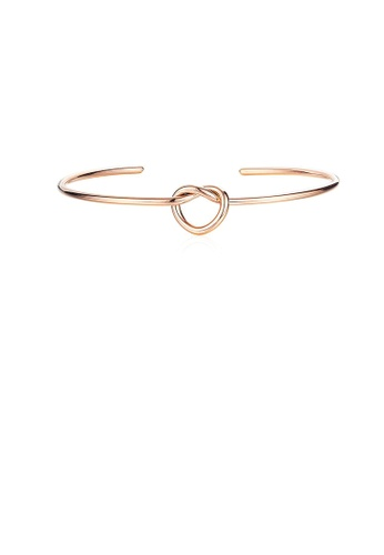 Glamorousky silver Simple and Sweet Plated Rose Gold Heart-shaped 316L Stainless Steel Opening Bangle D030FAC7C7C1E6GS_1