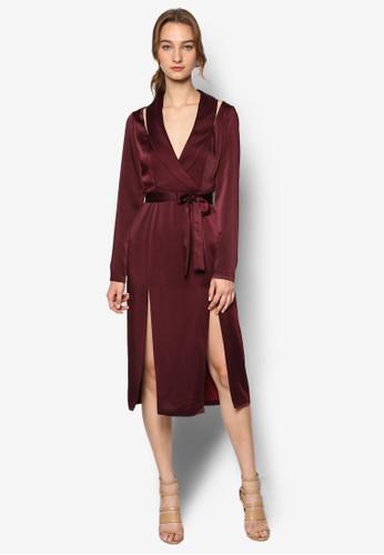 裹飾腰帶側開叉esprit台灣官網長袖連身裙, 服飾, 服飾