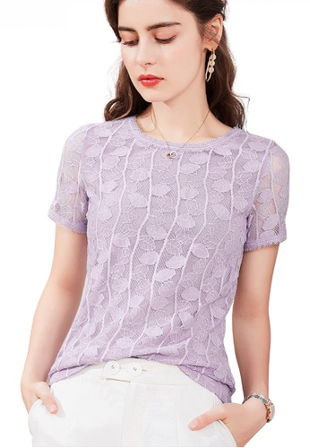 HAPPY FRIDAYS Jacquard Lace Leave Pattern Pullover Top JW GW-J191 19405AAF99623CGS_1