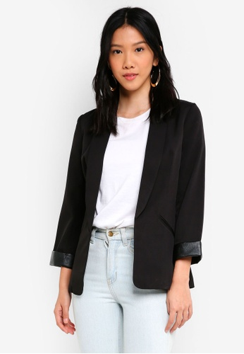 ZALORA black Blazer with PU Cuff 9EA65AA2BB0BADGS_1