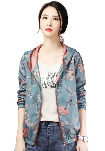 A-IN GIRLS pink and blue Retro Print Hooded Jacket D0F97AAE9E2820GS_1