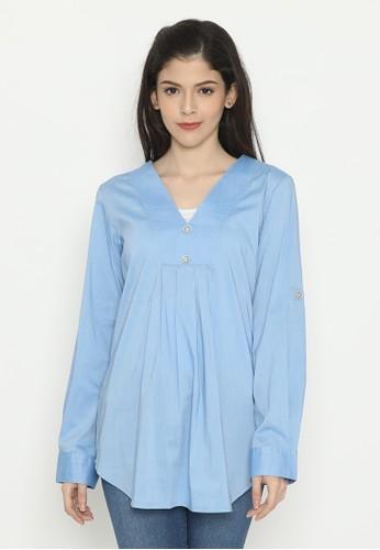 Mobile Power blue Long Sleeve Blouse Babydoll Blue Mobile Power Ladies - D10063 43137AAAB1EBC3GS_1