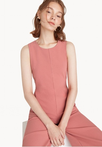 Pomelo pink Relaxed Knee Length Sleeveless Jumpsuit - Apricot E0795AA2D73F6DGS_1