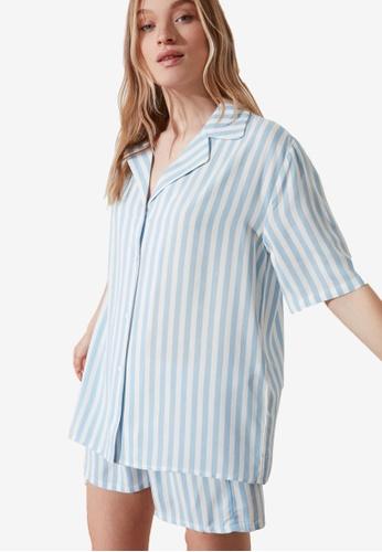 Trendyol blue Short Sleeve Pyjama Set AE7DFAA60D982AGS_1