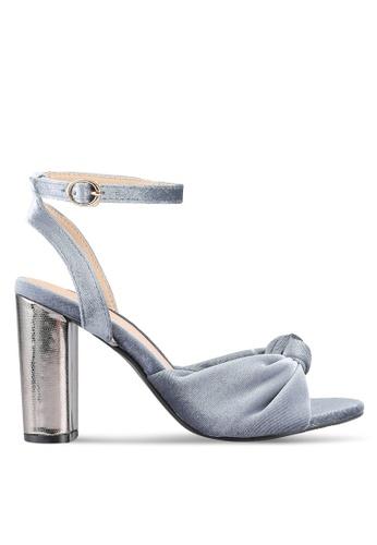 Velvet grey Velvet Ankle Heels B643BSHE86F4E5GS_1