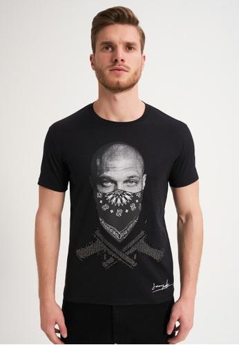 Jeremy Meeks black Men Swarovski Detailed T-Shirt Black 9555FAA16ABC5DGS_1