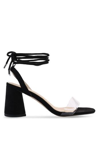 Public Desire 黑色 Lumi Perspex Toe 綁帶高跟鞋 308FFSHB626BCEGS_1