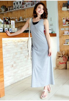 [IMPORTED] Vibrantly Charming Edgy Maxi Dress - Grey