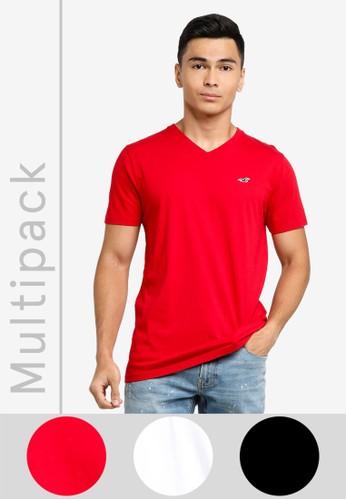 Hollister white 3-Pack V-Neck T-Shirts 585EDAA06981B7GS_1