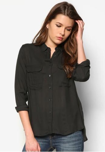 雙口袋長袖襯衫,mango手錶 服飾, 上衣
