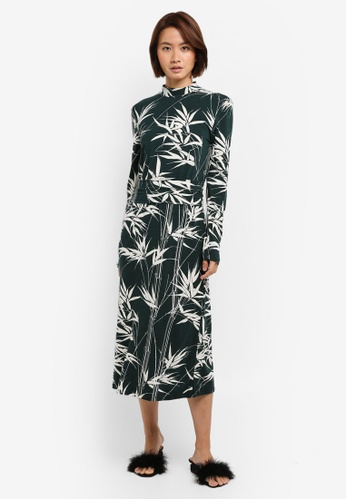 WAREHOUSE green Climbing Bamboo Midi Dress DF3DCAABF4FA72GS_1