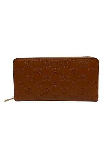 Celine brown Celine Triomphe Embossed Zip Around Wallet in Tan 681FBACBABE51EGS_1