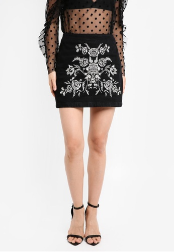 TOPSHOP black Moto Embroidered A-Line Skirt TO412AA0SZ6NMY_1