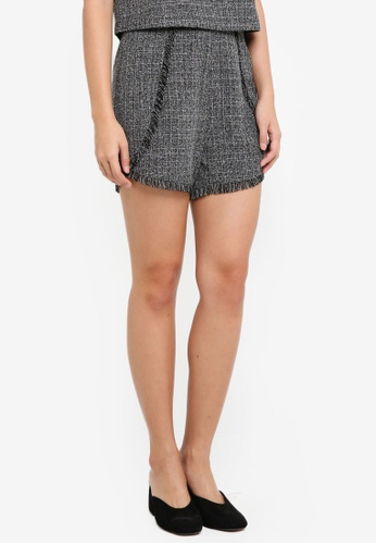 ZALORA multi Tweed Fringe Shorts 7B27EAA15E2DFEGS_1