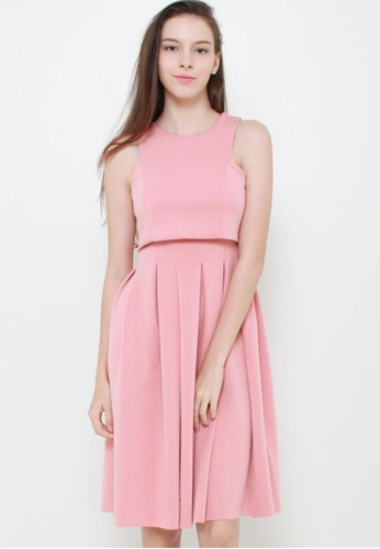Leline Style pink Sally Layered Dress LE802AA75GLGSG_1