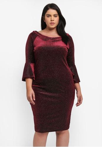 Goddiva red Plus Size Glitter Velvet Midi Dress With Bell Sleeves GO975AA0SSCAMY_1