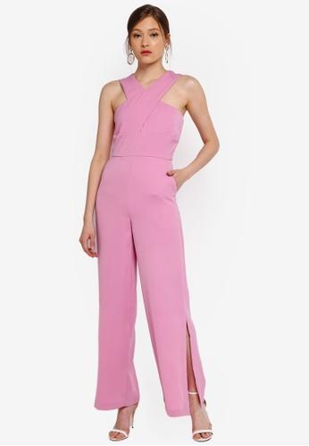 Lavish Alice pink Wrap Front Wide Leg Jumpsuit 11ED6AADDA0073GS_1