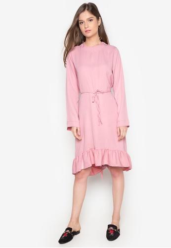 Chloe Edit pink Ruffled Hem Dress CH672AA0J9C5PH_1