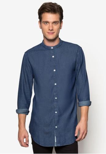 中式領zalora 男鞋 評價丹寧長袖襯衫, 服飾, 襯衫