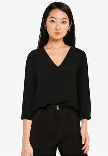 JACQUELINE DE YONG black Laura 3/4 Sleeve Top 2AF47AA26345C3GS_1