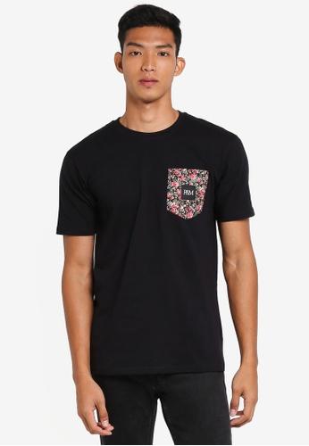 Pestle & Mortar 黑色 花卉口袋T恤 D1ABCAA039B766GS_1