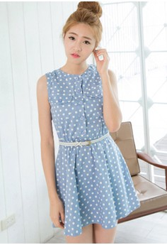 [IMPORTED] Retro Freshness Cute Dress - Blue