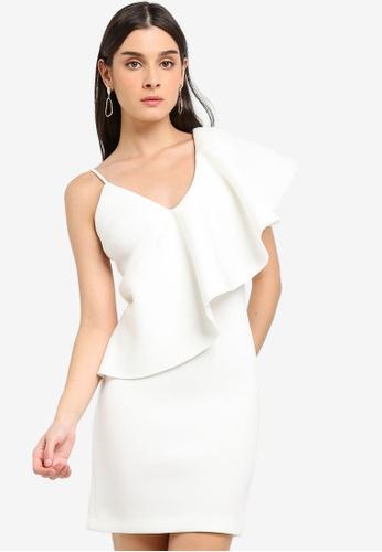 c1a5d70a7145c Lavish Alice white Exaggerated One Shoulder Frill Scuba Mini Dress  FD09AAADCCAD61GS_1