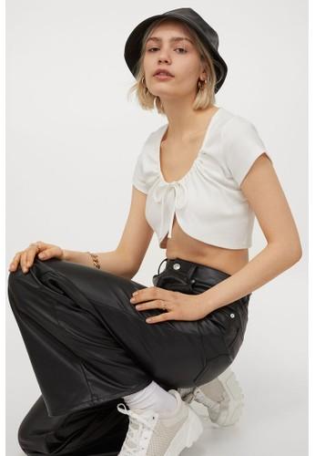 H&M white Jersey bolero top CED24AAFB6BFDAGS_1