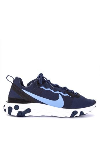 Nike blue Nike React Element 55 Shoes 6AE63SH97772D4GS_1