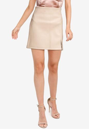 Miss Selfridge grey Natural Split Pu Skirt 819F1AAB7B979CGS_1