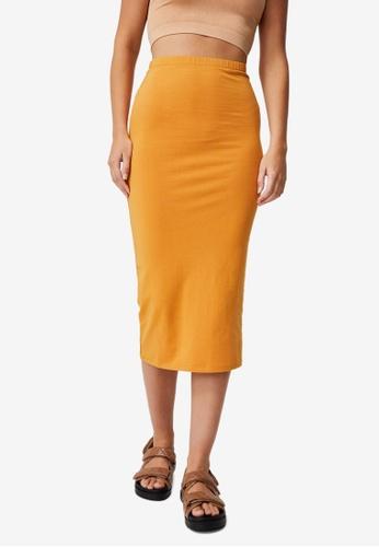 Cotton On yellow Essential Midi Skirt 475F9AA2E23E0FGS_1