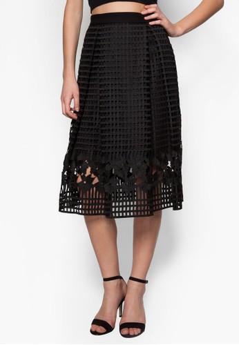 格紋蕾絲zalora 衣服尺寸A 字及膝裙, 服飾, 及膝裙