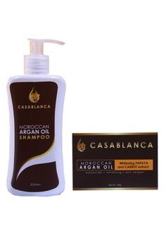 Moroccan Argan Oil Shampoo 200ml with Moroccan Argan Oil Soap Whitening Papaya and Carrot Extract 135g Bundle