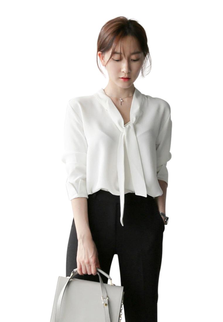 2018 S White UA031303 New Blouse S Sunnydaysweety White Chiffon d7Uv7F1
