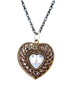 Vintage Heart with center rhinestone Pendant Necklace