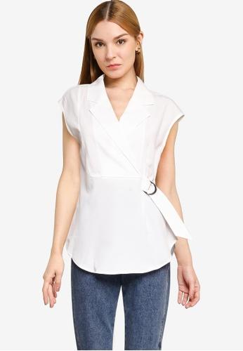 Nichii 白色 Wrap-Tie Collared Blouse D483DAA39C0EE0GS_1
