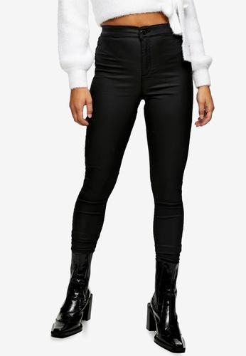TOPSHOP black PETITE Black Coated Joni Skinny Jeans 0DE9CAA24901C9GS_1