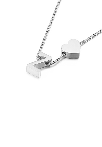 Glamorousky silver Simple and Fashion Heart-shaped English Alphabet Z 316L Stainless Steel Pendant with Necklace 5072DACB89FFB3GS_1