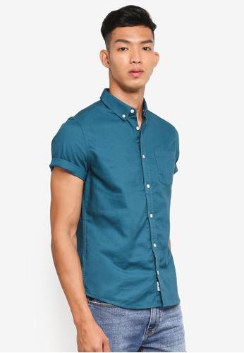 Burton Menswear London green Short Sleeve Teal Oxford Shirt 7DF18AAEB49F27GS_1