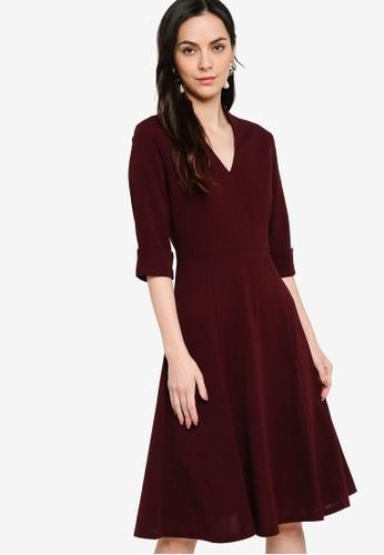 ZALORA WORK red Notch Neck Midi Shirt Dress 037AAAA9778DEEGS_1