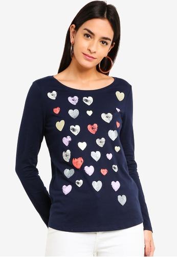 ESPRIT navy Heart Print Long Sleeve T-Shirt 6AD52AA1A75BB0GS_1