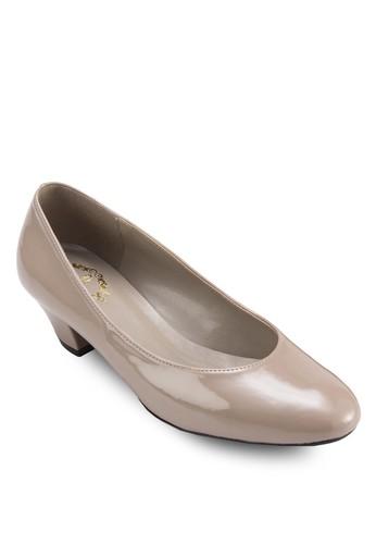 經典漆zalora 心得皮低跟鞋, 女鞋, 鞋