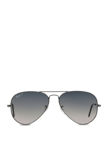 1b203f154c Ray-Ban grey Aviator Large Metal RB3025 Polarized Sunglasses  RA370GL43SAESG 1