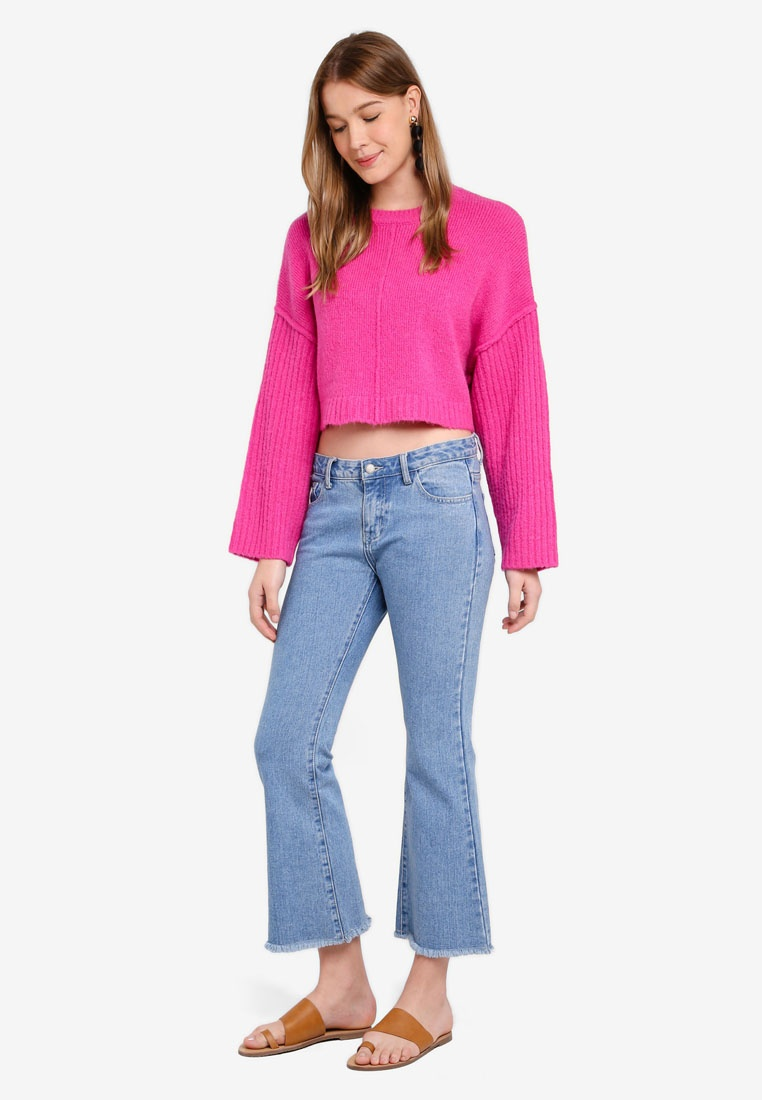 Sleeve Violet Rose Wide Pullover Cotton On Cropped Whimsy qAxTPt